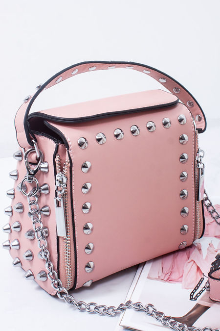 ZARA Pink Faux Leather Stud Detail Top Handle Crossbody Bag