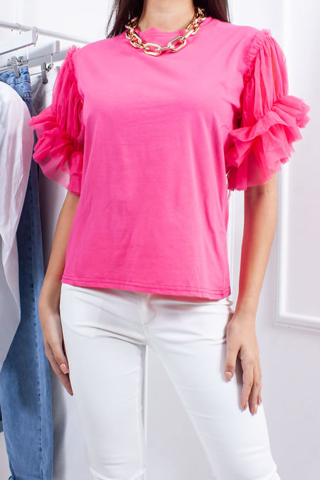 HOPE Fuchsia Ruched Mesh Puff Sleeve Top