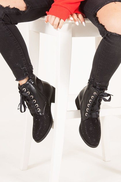 PIPPA Black Diamante Toe Ankle Boots