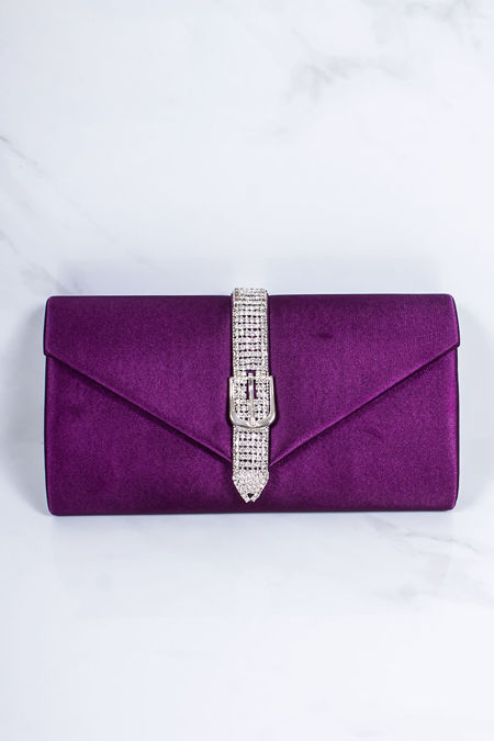 NYLA Purple Diamante Clutch Bag
