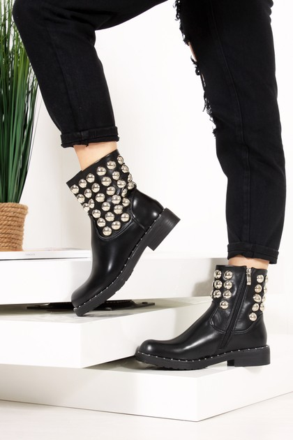 RAEGAN Black Silver Button Embellished Biker Boots