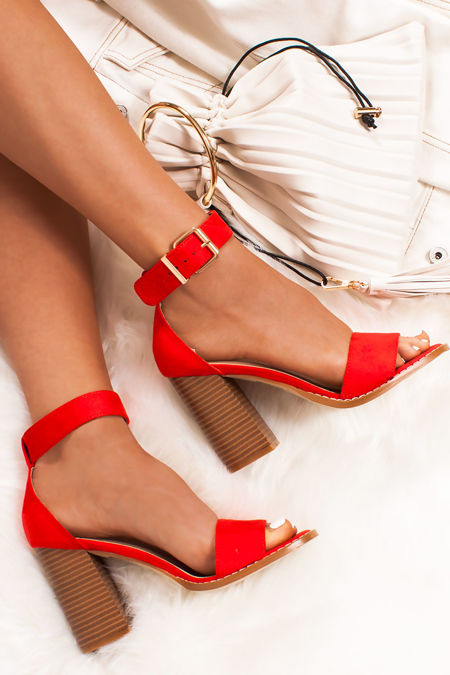 RUBY Red Faux Suede Block Heels