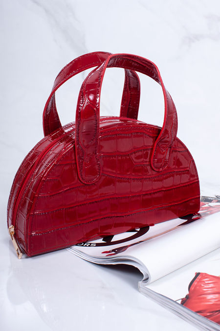 AVERY Red Croc Half Moon Bag