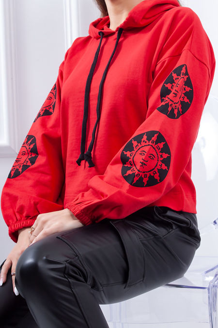RIVER Red Cropped Sun Detail Hoodie