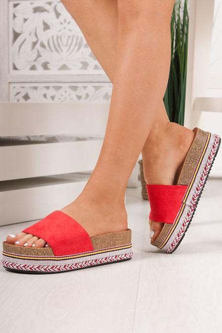 PETRA Red Strap Aztec Flatform Sandals