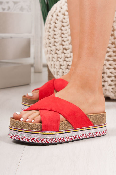 ROXIE Red Cross Strap Aztec Flatform Sandals