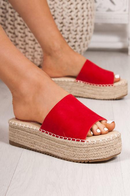 ORLA Red Faux Suede Strap Espadrille Flatform Sandals