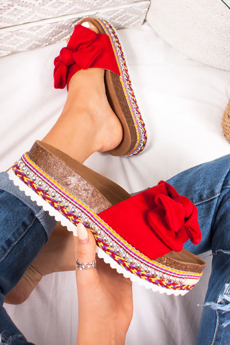 KIRA Red Bow Aztec Stud Flatform Sandals