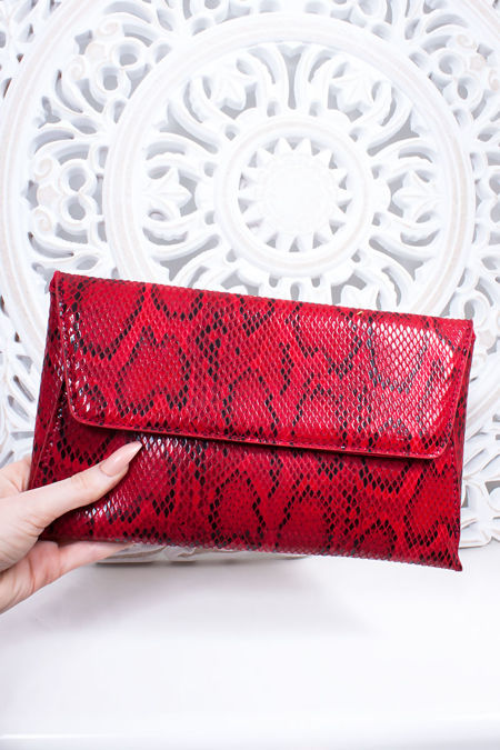 EBONY Red Snake Print Envelope Clutch Bag