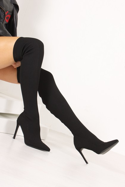 REGINA Black Ribbed Over The Knee Sock Boots
