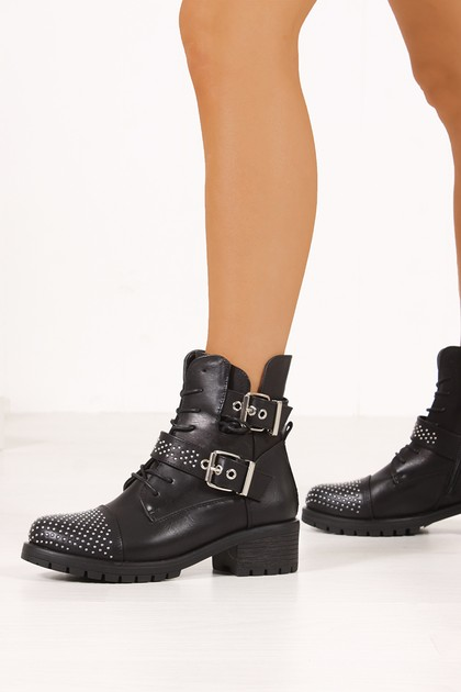 REMI Black Studded Toe Cut Out Ankle Boots