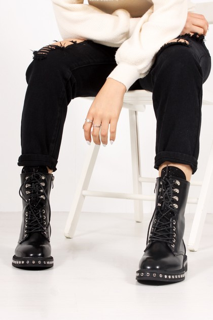 ROSALINE Black Diamante Tongue Silver Stud Biker Boots