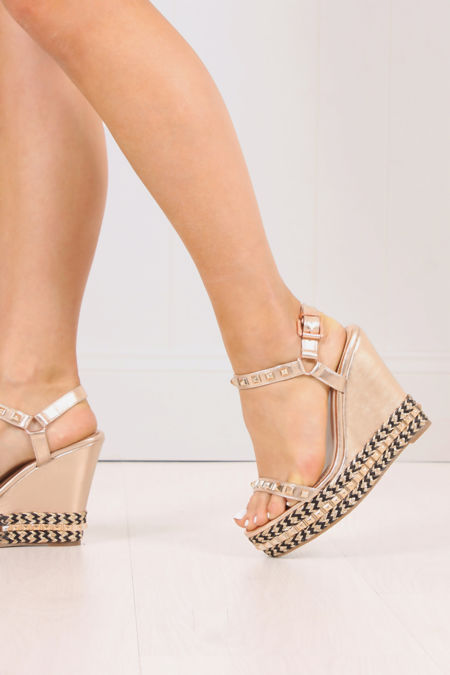 LILLIE Rose Gold Wedges With Stud Detail