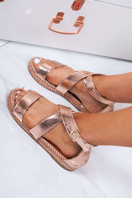 a0bf56cb6 HEIDI Rose Gold Strappy Rope Sandals