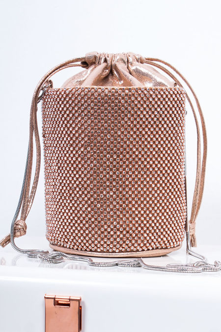 CAMILA Rose Gold Diamante Mini Bucket Bag