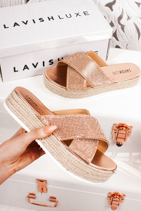 ISABELLE Rose Gold Diamante Cross Strap Mule Espadrille Flatforms