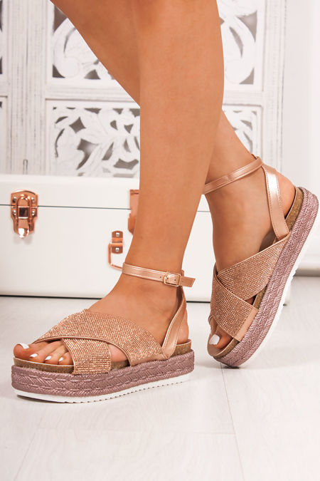 BELLE Rose Gold Diamante Cross Strap Espadrille Flatform Sandals