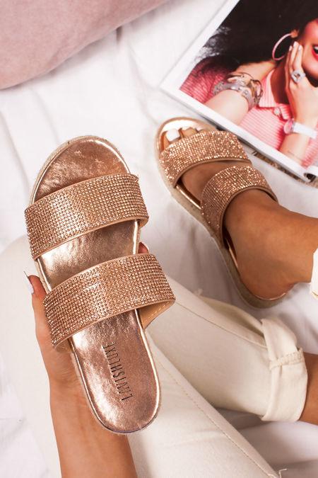 AMIE Rose Gold Diamante Strap Espadrille Flatform Sandals
