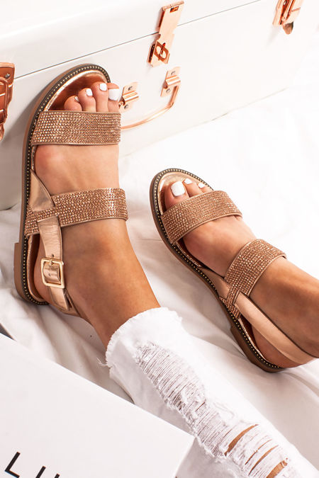 GIA Rose Gold Diamante Detail Strap Flat Sandals