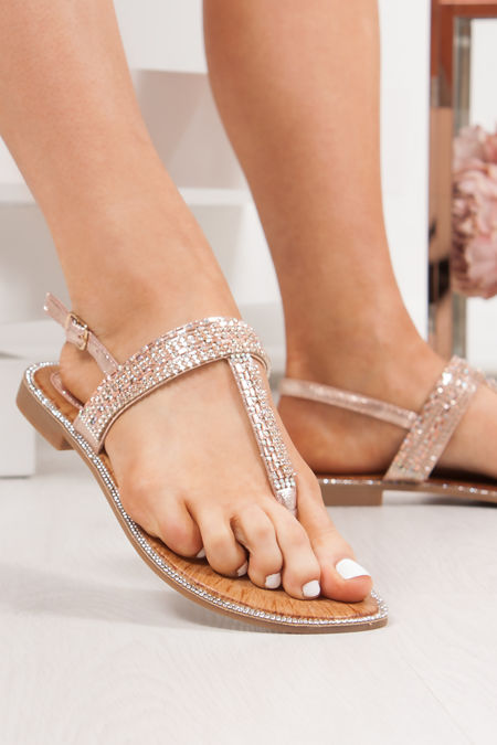 WILLOW Rose Gold Diamante Strap Toe Post Sandals