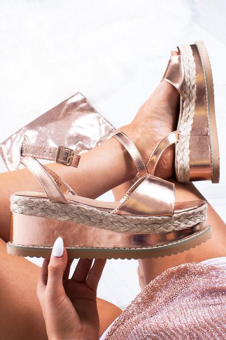 KENDALL Rose Gold Flatform Espadrille Sandals