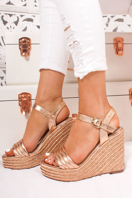 8d5a78c5b7e PIPER Gold Quilted Strap Espadrille Wedges