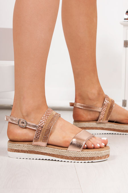 VIENNA Rose Gold Diamante Detail Flatform Espadrille Sandals