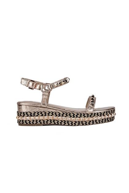 LEXI Rose Gold Stud Flatform Sandals With Gold Detail
