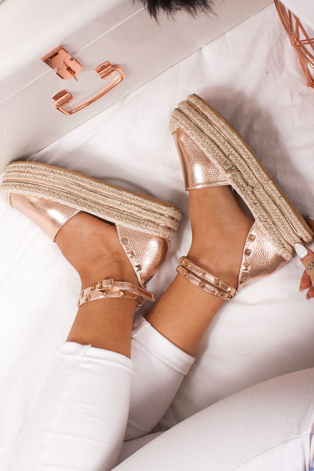 REYA Rose Gold Faux Leather Stud Espadrille Flatforms