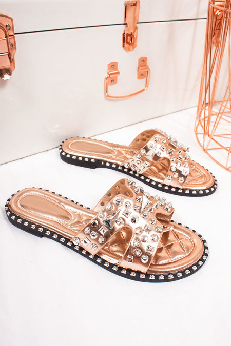 SOFIA Rose Gold Sliders With Silver Stud Detail