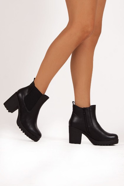 RUBIE Black Heeled Ankle Boots