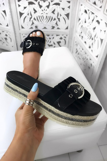 RUBY Black Buckle Espadrille Sliders