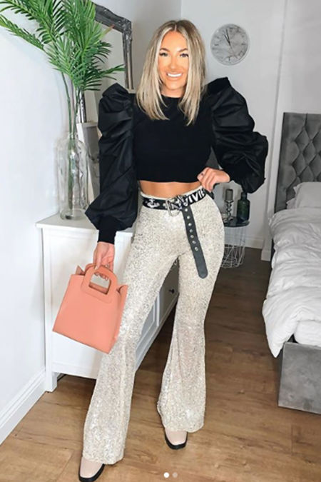 ATHENA Gold Sequin High Waisted Flared Trousers