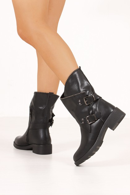 SHELBY Black Stud Trim Buckle Boots