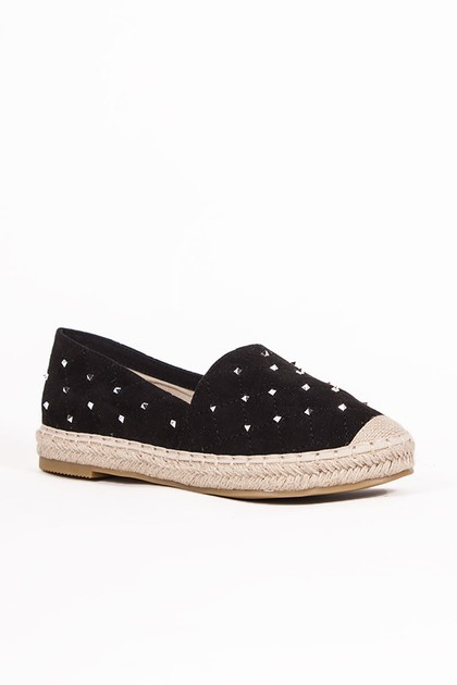 SHERRIE Black Stud Espadrilles With Silver Detail