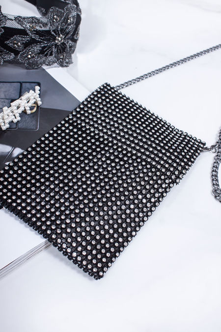 CHARLY Black Phone Pouch Bag With Silver Diamante Detail