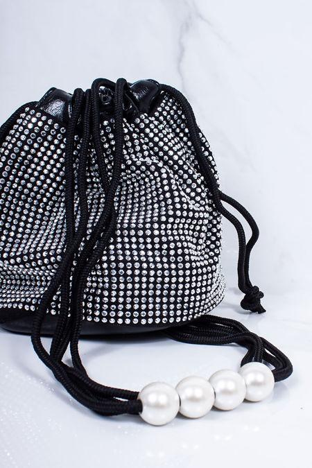HARLEY Black Silver Diamante Stud Bucket Bag