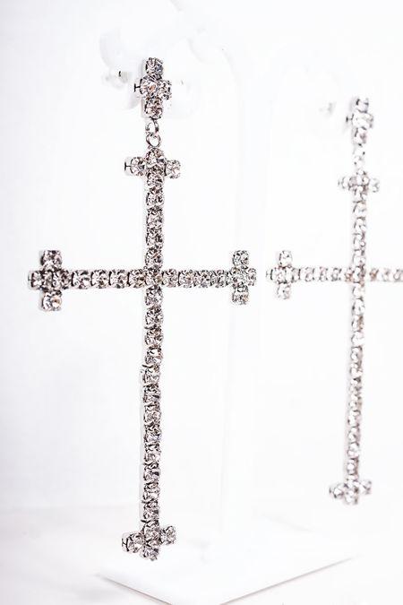 CATHY Silver Diamante Cross Earrings