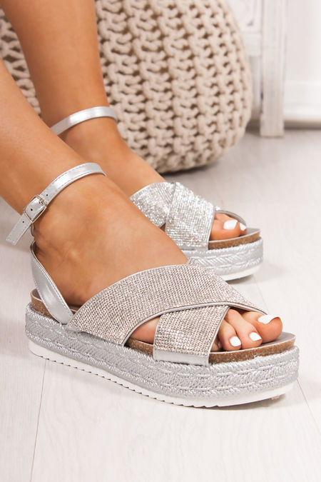 BELLE Silver Diamante Cross Strap Espadrille Flatform Sandals