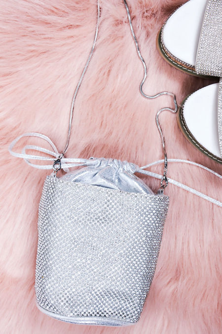 CAMILA Silver Diamante Mini Bucket Bag