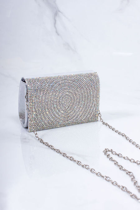 MOLLY Silver Diamante Mini Clutch Bag
