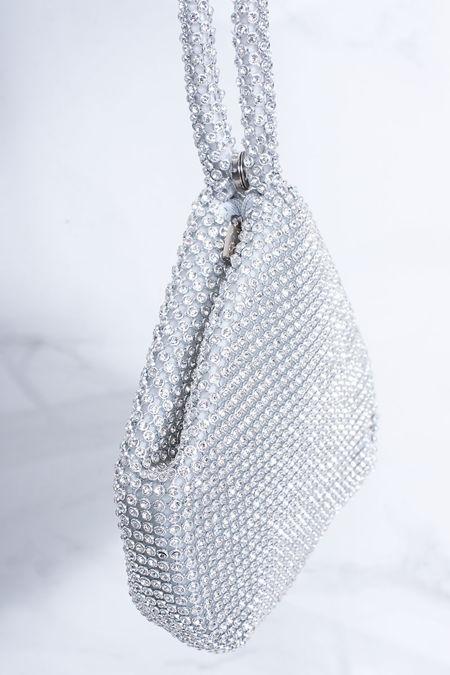 ZOE Silver Diamante Pouch Clutch Bag