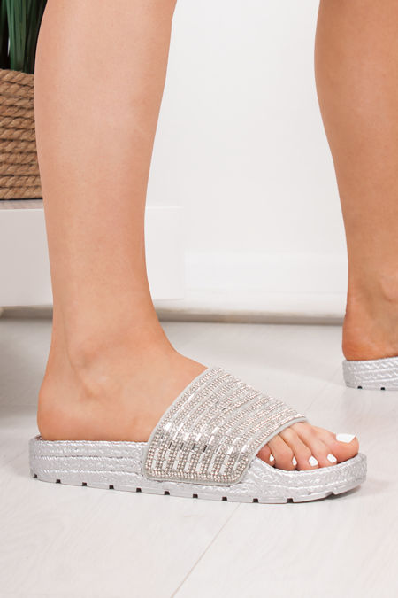 ADELINE Silver Diamante Strap Espadrille Sliders
