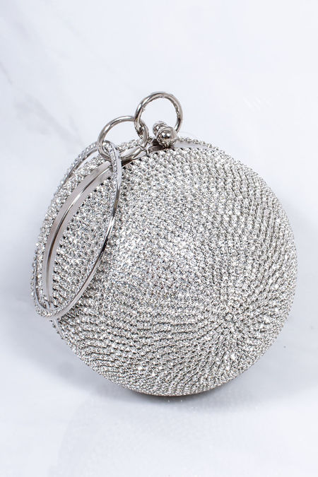 SADIE Silver Diamante Sphere Clutch Bag