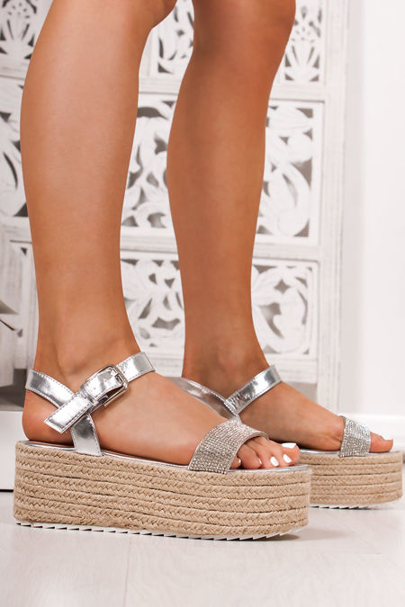 KOURTNEY Silver Diamante Strap Espadrille Flatforms