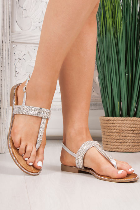 WILLOW Silver Diamante Strap Toe Post Sandals