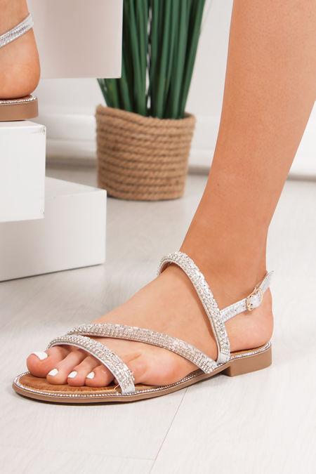 JASMINE Silver Diamante Strap Flat Sandals