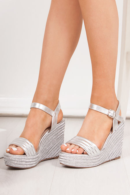 PIPER Silver Quilted Strap Espadrille Wedges