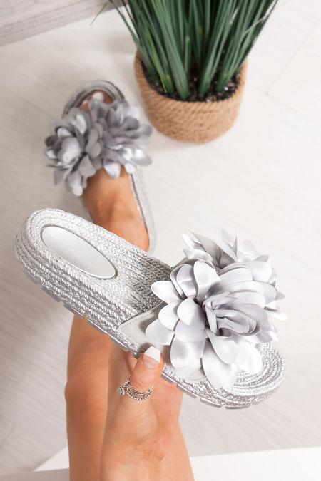 FERGIE Silver Flower Strap Espadrille Silders