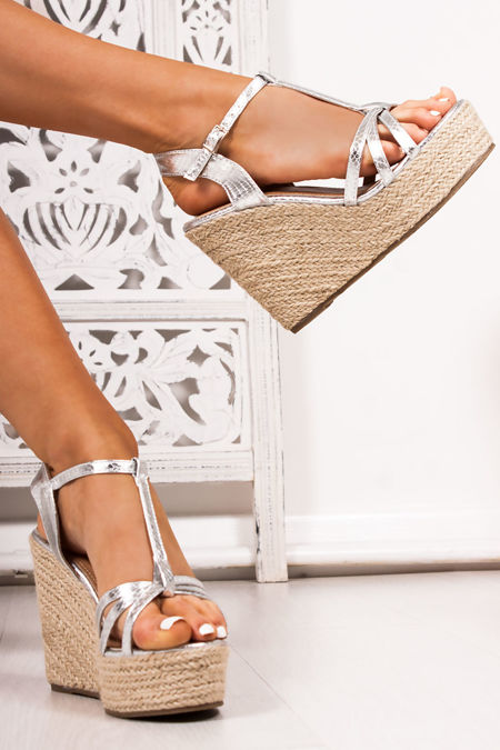 REMI Silver Snake Print T-Bar Strap Espadrille Wedges